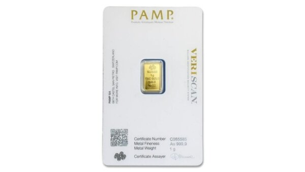1 Gram PAMP Suisse Lady Fortuna Gold Bar