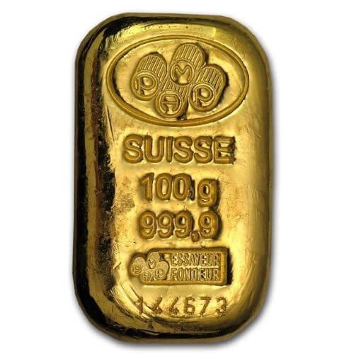 100 Gram Gold Bar - PAMP Suisse(Cast)