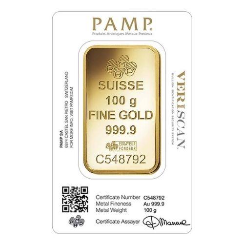 100 Gram PAMP Suisse Gold Bar Lady Fortuna Veriscan