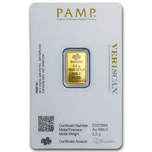 2.5 Gram PAMP Suisse Gold Bar - Lady Fortuna