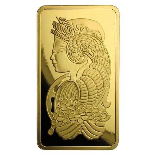 5 oz PAMP Suisse Gold Bar - Lady Fortuna Veriscan