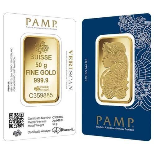 50 Gram PAMP Suisse Gold Bar - Lady Fortuna