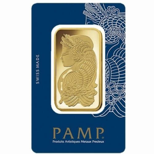 50 Gram PAMP Suisse Gold Bar - Lady Fortuna in Assay