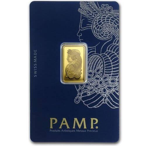 5 Gram PAMP Suisse Gold Bar - Lady Fortuna