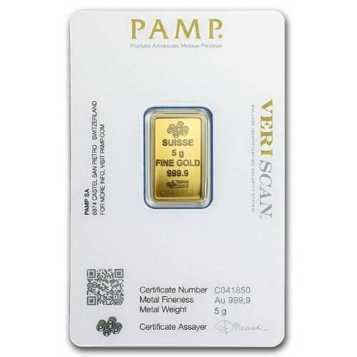 5 Gram PAMP Suisse Lady Fortuna Gold Bar
