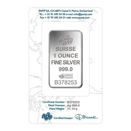 1 oz PAMP Suisse Silver Bar - Lady Fortuna