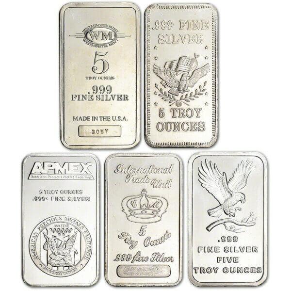 5oz secondary market silver bars