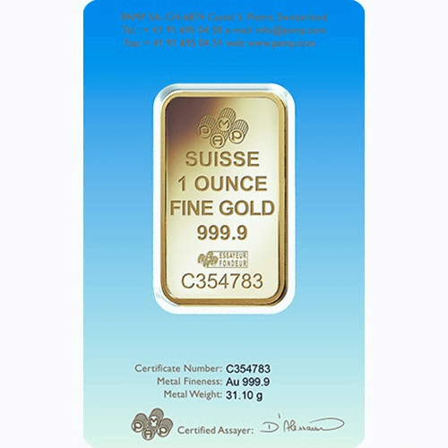 1 oz PAMP Suisse Cross Gold Bar