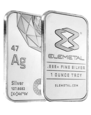 1 Oz Elemetal Silver Bar ( .999 Fine )