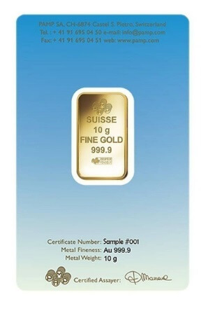 10 Gram Pamp Suisse Ka Bah Mecca Gold Bar back