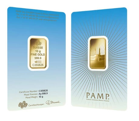 10 Gram Pamp Suisse Ka Bah Mecca Gold Bar (New w/ Assay)