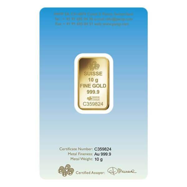 10 gram PAMP Suisse Gold Bar Romanesque Cross back