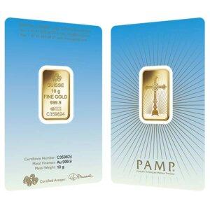 10 gram PAMP Suisse Gold Bar - Romanesque Cross (in Assay)
