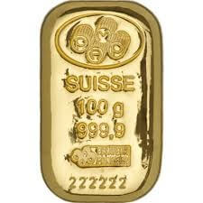 100 gram Gold Bar - Pamp (with certificate)