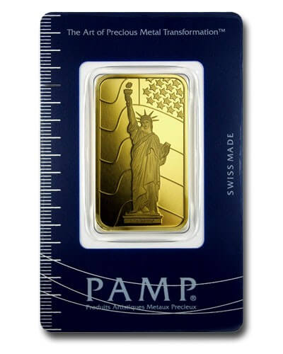 1 oz Gold Bar - PAMP Suisse Statue of Liberty (In Assay)