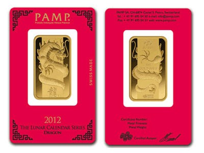 1 Oz Gold Bar - PAMP Suisse Dragon (In Assay)