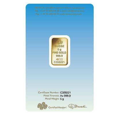 5 Gram Gold Bar - PAMP Suisse Lakshmi (In Assay)