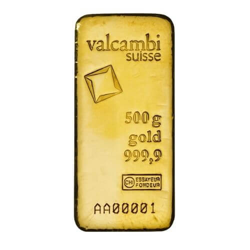 500 Gram Gold Bar Cast Valcambi